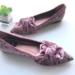 Ras Pointed Toe Flats crushed velvet made in Spain